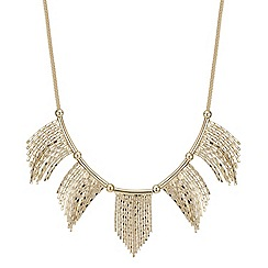 Red Herring - Gold chain fan necklace