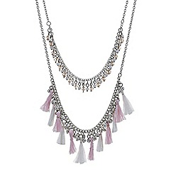 Red Herring - Pink tassel layered necklace