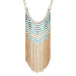 Red Herring - Beaded chain statement tassel necklace