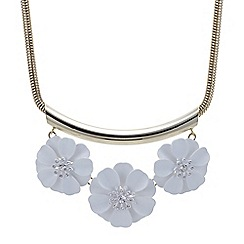 Red Herring - White flower polished tube necklace