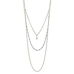 Red Herring - Beaded crystal drop multi row long necklace