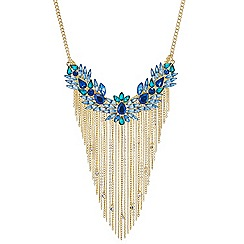 Red Herring - Statement blue tonal crystal and drop tassel necklace
