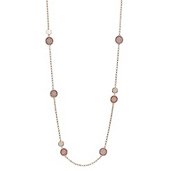Red Herring - Rose gold glitter disc long necklace