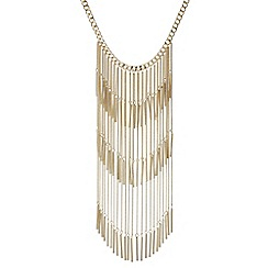 Red Herring - Gold tassel statement long necklace