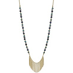 Red Herring - Green beaded gold fringe rope necklace