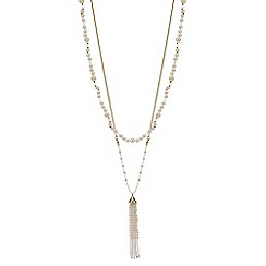 Red Herring - Pearl beaded double row tassel necklace