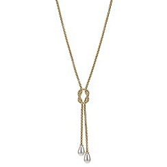 Red Herring - Gold double pearl lariat necklace