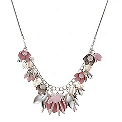 Red Herring - Pink flower charm necklace