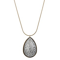 Red Herring - Grey druzy drop peardrop long necklace
