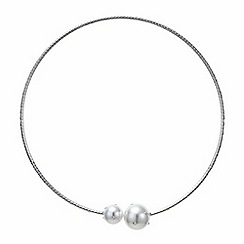 Red Herring - Silver diamante crystal pearl torque necklace