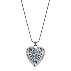 Red Herring - Silver cluster crystal heart pendant necklace