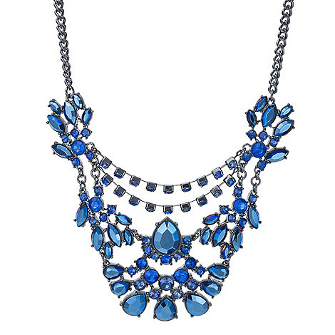 Red Herring - Metallic blue crystal statement necklace