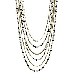 Red Herring - Monochrome pearl and bead multirow necklace