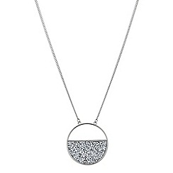 Red Herring - Silver half circle crystal cluster pendant necklace