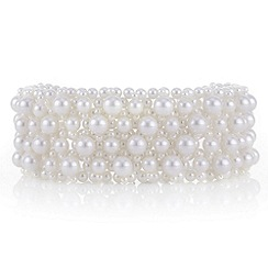 Red Herring - Cream pearl lattice choker necklace