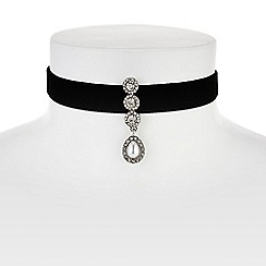 Red Herring - Crystal and pearl droplet velvet choker necklace