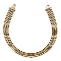 Red Herring - Gold multi row choker necklace