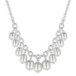 Red Herring - Silver pearl acorn droplet necklace