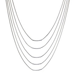 Red Herring - Silver multi row tube necklace