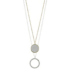 Red Herring - Glitter disc and pave circle necklace