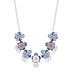 Red Herring - Blue crystal flower necklace