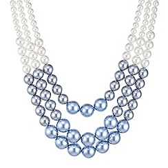 Red Herring - Blue tonal pearl multi row necklace