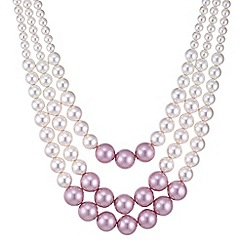 Red Herring - Pink tonal pearl multi row necklace