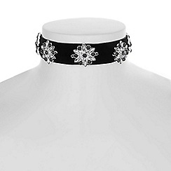 Red Herring - Black floral choker necklace