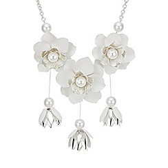 Red Herring - White flower statement necklace