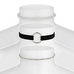 Red Herring - Silver choker necklace set