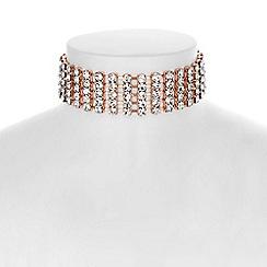 Red Herring - Rose gold crystal diamante choker