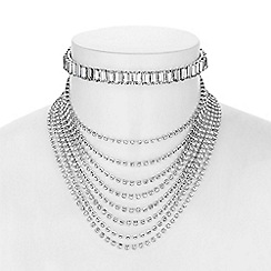 Red Herring - Silver crystal baguette choker necklace