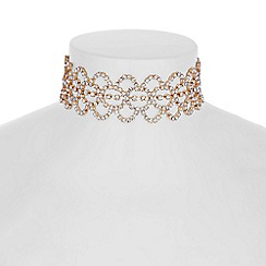 Red Herring - Rose gold diamante loop choker necklace