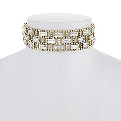 Red Herring - Gold crystal baguette choker necklace