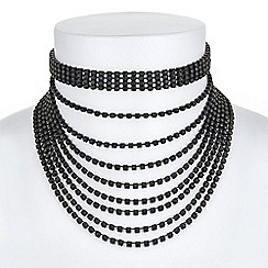Red Herring - Jet crystal multi row choker necklace