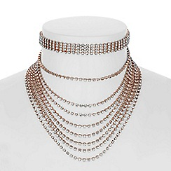Red Herring - Rose gold multi row choker necklace