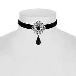 Red Herring - Jet crystal ornate choker necklace