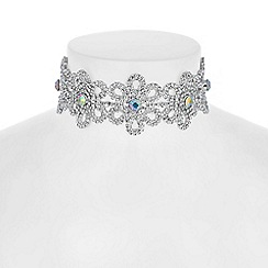Red Herring - Aurora borealis crystal flower choker