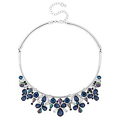 Red Herring - Blue crystal cluster torque necklace