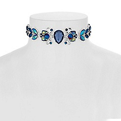 Red Herring - Blue crystal navette choker
