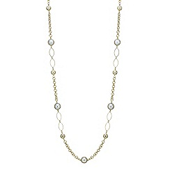 Red Herring - Gold link pearl long necklace