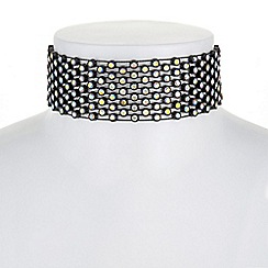 Red Herring - Aurora borealis crystal choker necklace