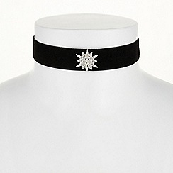 Red Herring - Silver crystal star choker necklace
