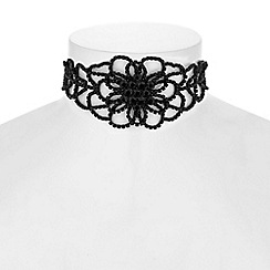 Red Herring - Jet diamante floral choker necklace
