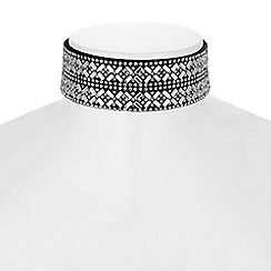 Red Herring - Crystal mosaic choker necklace