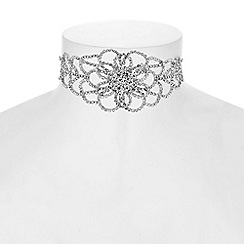 Red Herring - Diamante floral choker necklace