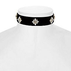 Red Herring - Crystal flower velvet choker necklace