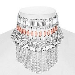 Red Herring - Beaded draped choker necklace