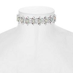 Red Herring - Crystal cluster velvet choker necklace