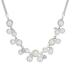 Red Herring - Pearl and pave ball necklace